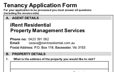 iRent Residential Property Management Services - Tenant Information